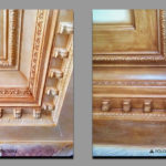 Decorative painting of gypsum cornice under a wood