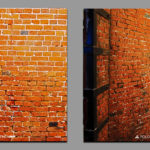 Artificial aging of brick walls