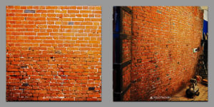 Artificial aging of brick walls