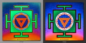 Tripura Yantra. Придает силу / Gives power. 1x1m Acrilic on canvas / Uv lighting