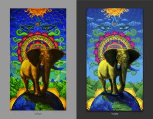 Спасите Слонов! Save Elefants! 150x250cm Acrilic on canvas / UV lighting