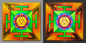 Ganesha Yantara. Дарует успех / Gives success. 1x1m Acrilic on canvas / UV lighting