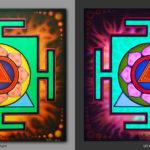 Kali Yantra. Разрушает ложные привязанности / Destroys false feelings 1x1m Acrilic on canvas / UV lighting