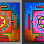 Laksmi Yantra Наполняет жизнь богатством / Fills life with wealth. 1x1m Acrilic on canvas / UV lighting