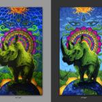 Спасите Носорогов! Save Rhinos! 150x250cm Acrilic on canvas / UV lighting