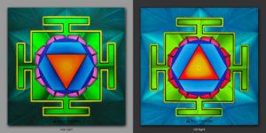 Green Tara Yantra. Успокаивает / Calm 1x1m Acrilic on canvas / Uv lighting
