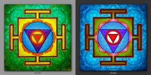 Chinamasta Yantra. Дает понять предназначение / It makes clear the purpose. 1x1m Acrilic on canvas / UV lighting
