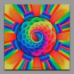 In Yan power / Символизирует гармонию и баланс / Symbolizes harmony and balance 1x1m Acrilic on canvas / UV lighting