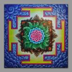 Spring Mandala / Симвозирует пробуждение природы весной / Symbolizes the awakening of nature in spring 1x1m Acriic on canvas