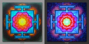 Vimana Yantra. Дарует успех в жизни / Gives success in life 1x1m Acrilic on canvas / UV lighting